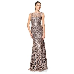 Paillette Embroidered Lace Gown